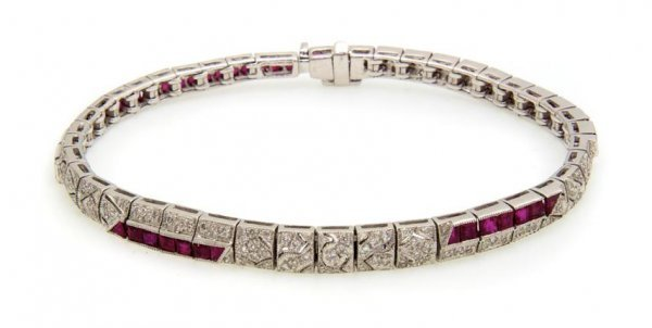 An 18 Karat White Gold, Ruby and Diamond Bracelet, 11.8