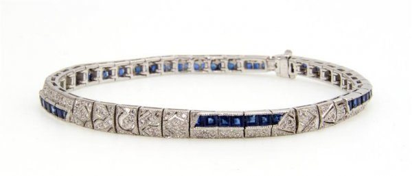 An 18 Karat White Gold, Sapphire and Diamond Bracelet,