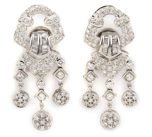 A Pair of 18 Karat White Gold and Diamond Earclips, 9.1