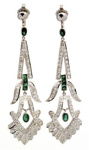 A Pair of 18 Karat White Gold, Emerald and Diamond Earr