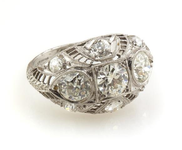 An Art Deco Platinum and Diamond Ring, circa 1928, 2.70