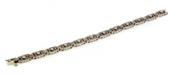 An Art Deco 14 Karat White Gold and Diamond Bracelet, 1