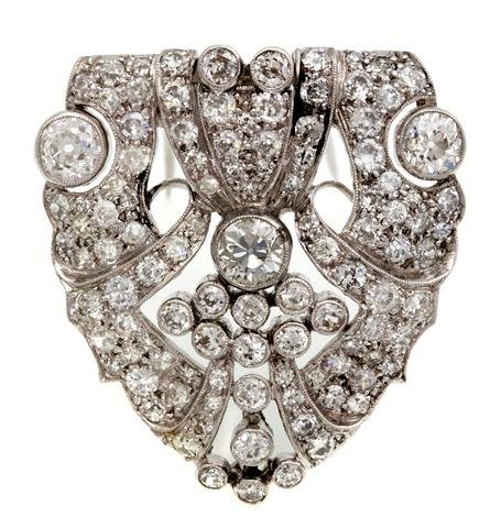 A Platinum and Diamond Brooch, 12.20 dwts.