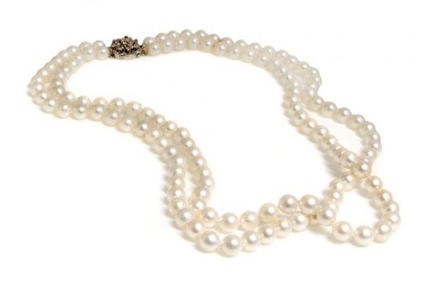 A Double Strand Cultured Pearl with 14 Karat White Gold
