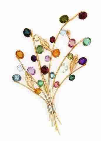 A 14 Karat Two Tone Gold and Multi Color Gem Brooch, 14
