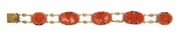 A 14 Karat Yellow Gold, Carved Coral and Seed Pearl Bra