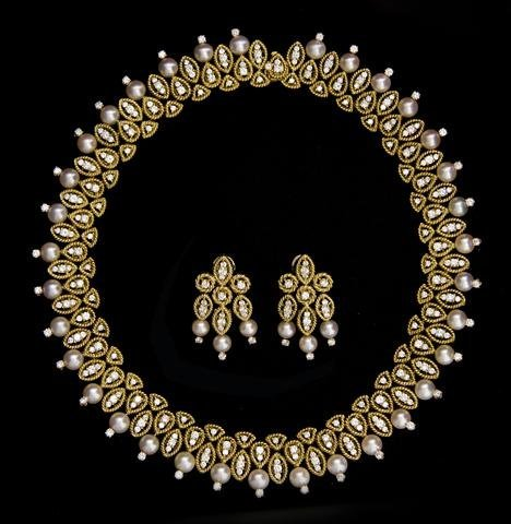 A Set of 18 Karat Yellow Gold, Cultured Pearl and Diamo