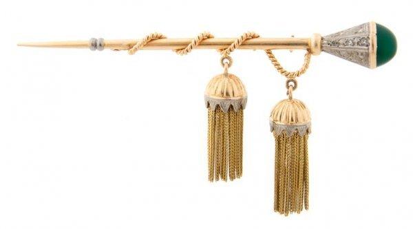 A 14 Karat Yellow Gold, Diamond and Green Glass Brooch,