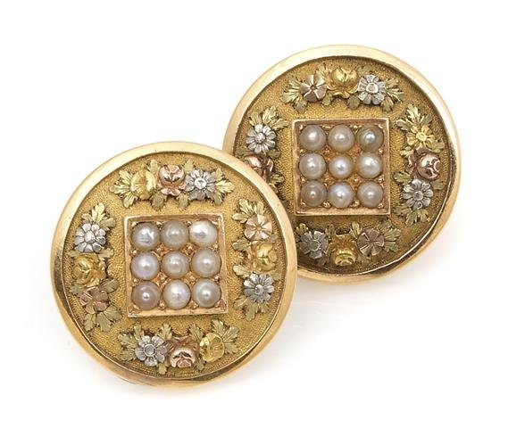 A Pair of Tri-Color Gold and Seed Pearl Button Earrings