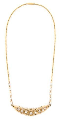A 14 Karat Yellow Gold, Cultured Pearl and Diamond Neck