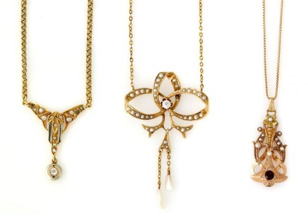 A Set of Three Gold and Seed Pearl Necklaces, 10.50 dwt