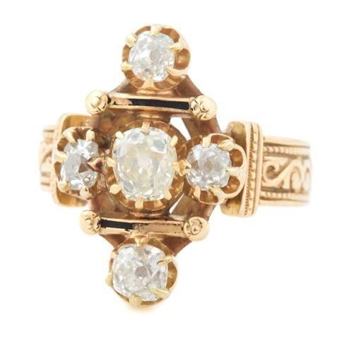 A 14 Karat Yellow Gold and Old Mine Cut Diamond Ring, 3