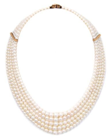 A Five Strand Graduated Cultured Pearl Necklace,