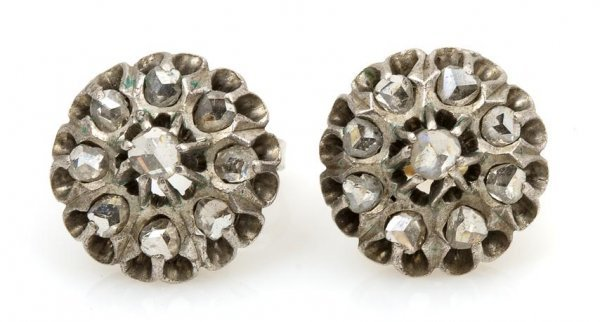 A Pair of Gold Backed Silver and Rose Cut Diamond Earri