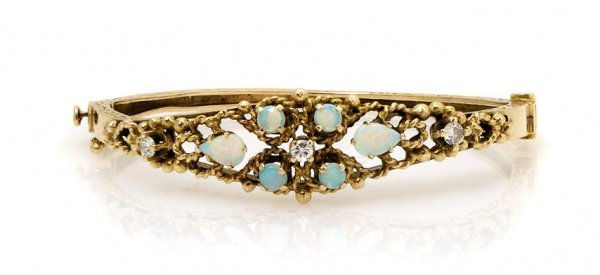 A 14 Karat Yellow Gold, Opal and Diamond Bangle Bracele