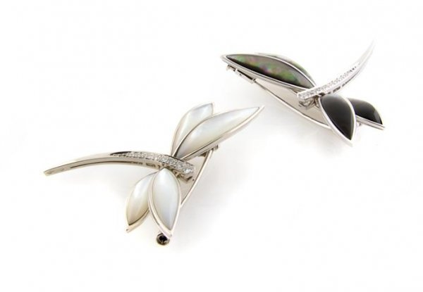 Two 18 Karat White Gold, Mother-of-Pearl and Diamond Pi