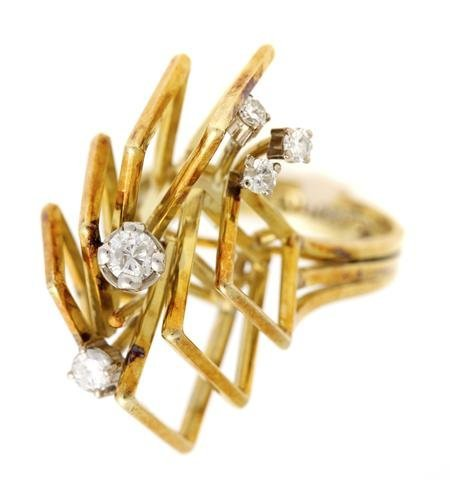 A 14 Karat Yellow Gold and Diamond Ring, 4.80 dwts.