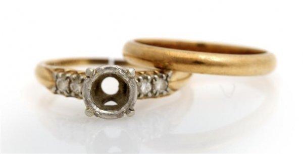A 14 Karat Yellow Gold, Platinum and Diamond Setting, 2