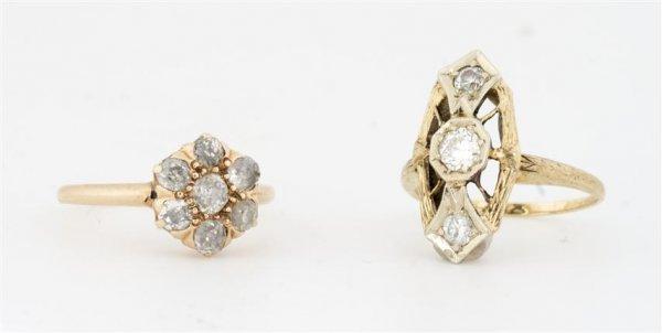 Two 14 Karat Yellow Gold and Diamond Rings, circa 1920,