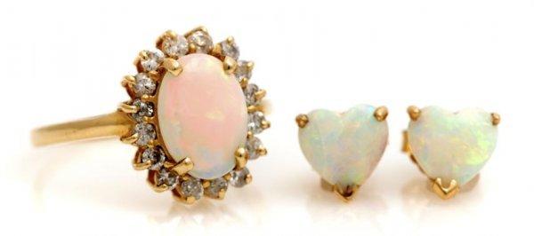 A Group of 14 Karat Yellow Gold, Opal and Diamond Jewel