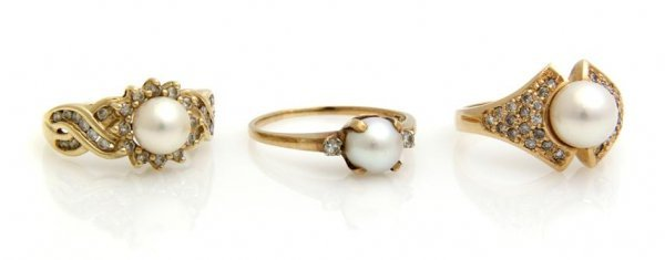 A Group of Three Yellow Gold, Pearl and Diamond Rings,