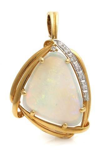 An 18 Karat Yellow Gold, Opal and Diamond Pendant, 4.40