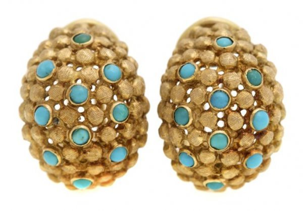 A Pair of 18 Karat Yellow Gold and Turquoise Earrings.