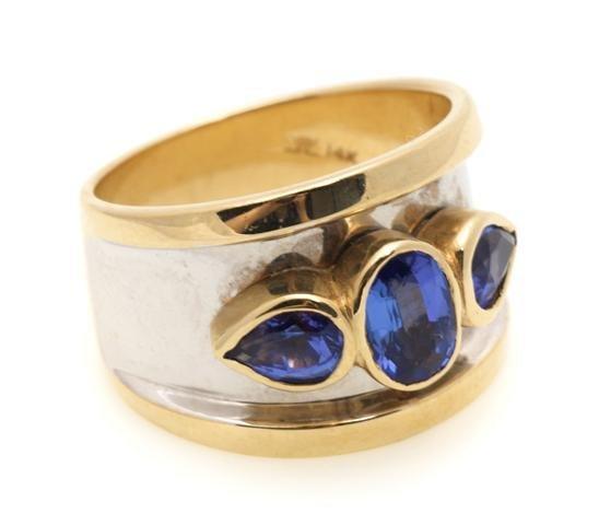 A 14 Karat Yellow Gold, White Gold and Tanzanite Ring,