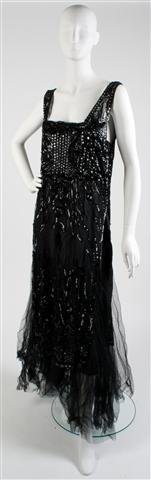 A Black Tulle and Sequin Evening Gown,