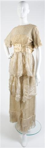 A Cream Lace Evening Gown,