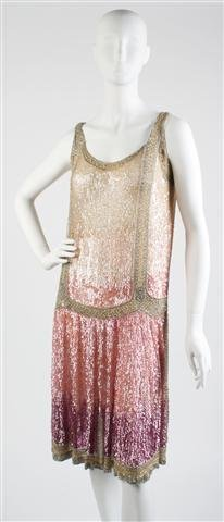 A Tan, Pink and Purple Sequin Flapper Dress,