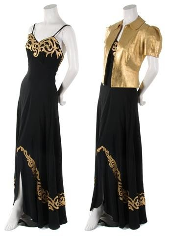 A Black Silk Crepe de Chine Dress with Gold Leather Jac