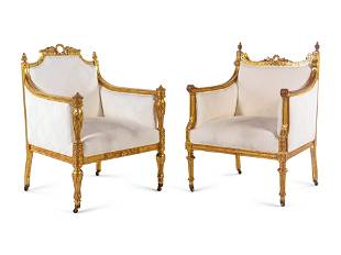 Two Louis XVI Style Carved Giltwood Bergeres