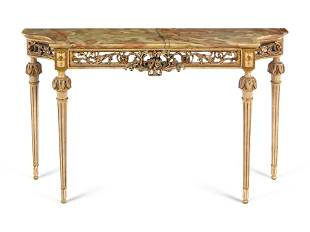 A Louis XVI Style Painted and Parcel Gilt Onyx-Top