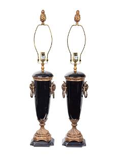 A Pair of French Gilt Bronze and Glazed Ceramic Urns