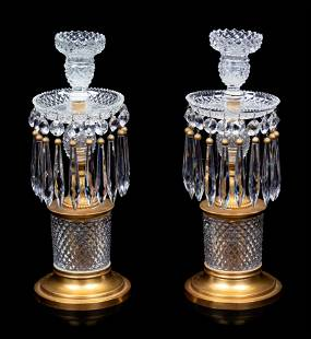 A Pair of French Gilt Bronze and Cut Glass Candlesticks