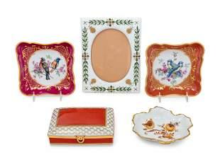 Five Limoges Painted and Parcel Gilt Porcelain Articles