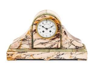 A Continental Marble Mantel Clock