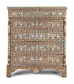 A Syrian Mother-of-Pearl Inlaid Walnut Chest of Drawers