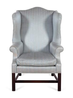 A George III Style Mahogany Wingback Armchair