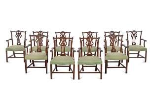 A Set of Ten George III Style Mahogany Armchairs