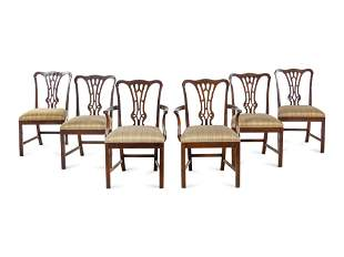 A Set of Six George III Style Mahogany Dining Chairs