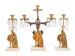A Victorian Gilt Metal and Marble Three-Piece Garniture