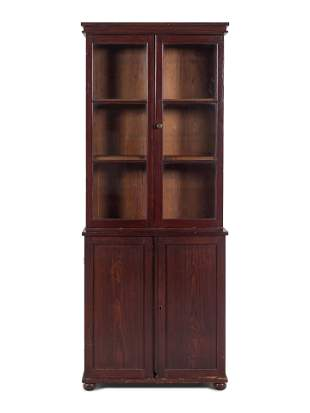 A Federal Style Stained Pine Step-Back Cupboard