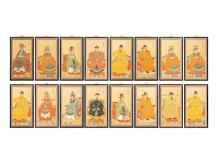 A Set of Sixteen Chinese Screenprints of Court Figures