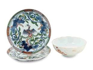 Three Imari Palette Porcelain Articles