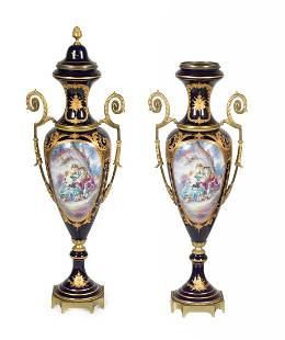 A Pair of Sevres Style Gilt Metal Mounted Porcelain