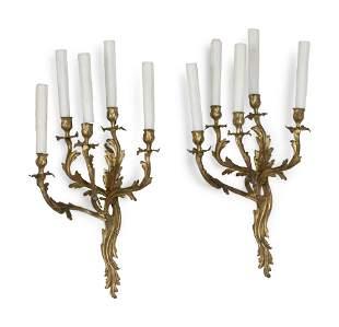 A Pair of Louis XV Style Gilt Bronze Five-Light Sconces