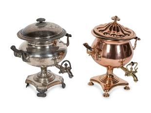 A Copper and Brass Tea Urn and a Silver-Plate Tea Urn