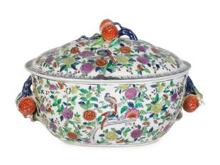 A Transfer-Decorated Glazed Ceramic Tureen with
